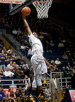 Tyrone Wallace of California shoots the ball during the game against Coppin State at Haas Pavilion in Berkeley, California on November 8th, 2013.    California defeated Coppin State, 83-64.