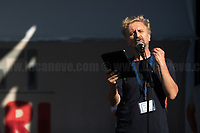 """Ascanio Celestini (Actor).<br /> <br /> Rome, 05/07/2020. Today, thousands of people gathered in Piazza San Giovanni to attend the """"Stati Popolari"""". The rally, organised by Aboubakar Soumahoro (1.) - Trade Union Coordinator of the Unione Sindacale di Base USB, was meant to be a popular answer by the """"Invisibles"""" to the """"Stati Generali dell'Economia"""" (States General of the Economy, 2.) of the Italian Prime Minister Giuseppe Conte, a 10-day-long meeting held in June at Villa Doria Pamphili (Villa Doria Pamphilj, 2.) where Italian and EU leaders / members of Governments, bankers, investors, advisors, met to discuss the economic recovery from the Covid-19 / Coronavirus crisis. From the organisers Facebook event page: «The Popular States will be our agora, where different realities will bring their pains and their proposals. A human square to make all the invisible visible and to give voice to all the unheard, our only symbol. The Popular States will be the communion of our needs and our struggles […]» (3.). At the end of the demo Soumahoro, who mainly deals with protection of """"Braccianti"""" (agricultural workers) rights, fights against """"caporalato"""" (illegal hiring) and the exploitation along the agricultural supply chain, gave a speech (4.) addressing the requests to the Government: - National plan for the work emergency; - Public housing program; - integral reform of the food supply chain; - radical transformation of migration policies (including, the """"right to return"""" for Italian migrants); - abolish the """"Security decrees"""" and cancel Bossi-Fini law; - reform the reception; - ecological transition strategy; - proactive interventions against discrimination and for equality.<br /> <br /> Footnotes & Links:<br /> 1. (Wikipedia.org) http://bit.do/fF4rH<br /> 2. 16.06.20 Aboubakar Soumahoro: Hunger/Thirst Strike And Meeting With Italian Prime Minister Conte http://bit.do/fGrbH<br /> 3. http://bit.do/fGrbD & https://www.facebook.com/StatiPopolari/<br /> 4. Aboubakar Soumahoro """