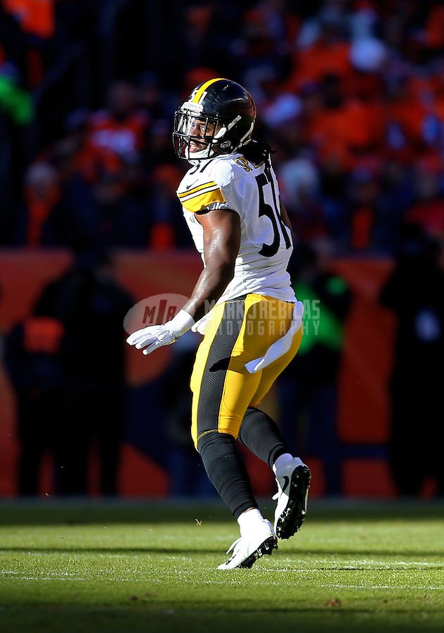 Jan 17, 2016; Denver, CO, USA; Pittsburgh Steelers linebacker Sean Spence (51) against the Denver Broncos during the AFC Divisional round playoff game at Sports Authority Field at Mile High. Mandatory Credit: Mark J. Rebilas-USA TODAY Sports