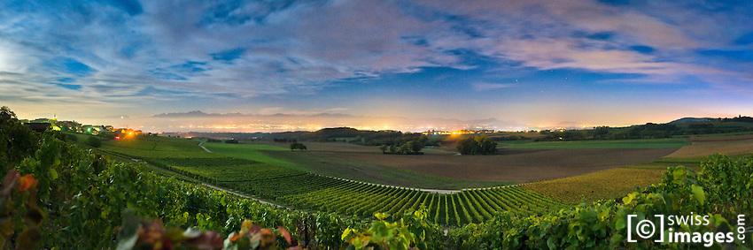 Night view on Yens' vineyards