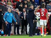 Middlesbrough manager Jonathan Woodgate shouts instructions to Ryan Shotton from the technical area<br /> <br /> Photographer Alex Dodd/CameraSport<br /> <br /> The EFL Sky Bet Championship - Middlesbrough v Preston North End - Tuesday 1st October 2019  - Riverside Stadium - Middlesbrough<br /> <br /> World Copyright © 2019 CameraSport. All rights reserved. 43 Linden Ave. Countesthorpe. Leicester. England. LE8 5PG - Tel: +44 (0) 116 277 4147 - admin@camerasport.com - www.camerasport.com