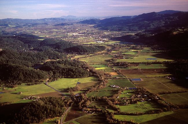 Aerial of Napa Valley.  Silverado Trail is at lower left, view looks south from south of Calistoga, ca