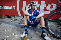 Petr Vakoc (CZE/Quick Step Floors) exhausted after finishing in Geraardsbergen. <br /> <br /> Binckbank Tour 2017 (UCI World Tour)<br /> Stage 7: Essen (BE) &gt; Geraardsbergen (BE) 191km