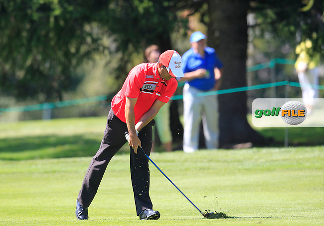 Felipe AGUILAR (CHI) plays his 2nd shot on the 15th hole during Saturday's Round 3 of the 2014 Omega European Masters held at the Crans Montana Golf Club, Crans-sur-Sierre, Switzerland.: Picture Eoin Clarke, www.golffile.ie: 6th September 2014