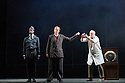 London, UK. 05.10.2016. English Touring Opera presents XERXES, by George Frideric Handel, at the Hackney Empire, prior to setting off on a UK tour. Picture shows: Peter Brathwaite (Elviro), Julia Riley (Xerxes), Andrew Slater (Ariodate). Photograph © Jane Hobson.