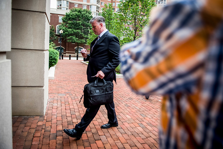 UNITED STATES – JULY 31: Kevin Downing arrives to the United States District Court in Alexandria, Virginia where he will represent President Donald Trump's former campaign manager Paul Manafort who stands trial July 31, 2018.  (Photo By Sarah Silbiger/CQ Roll Call)