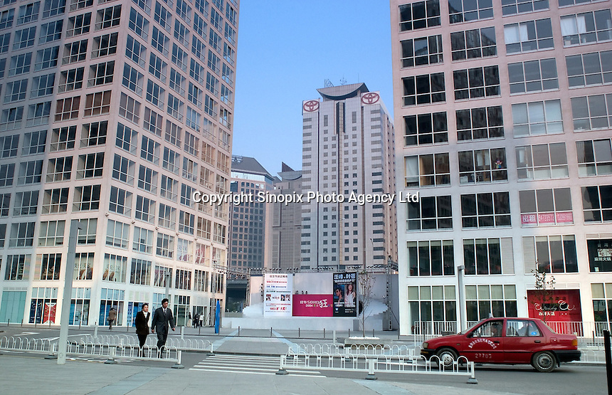 The new business district of SOHO in Beijing. The modern area comprises of several 30 storey tower blocks seperated into small units designed for small start up businessmen..