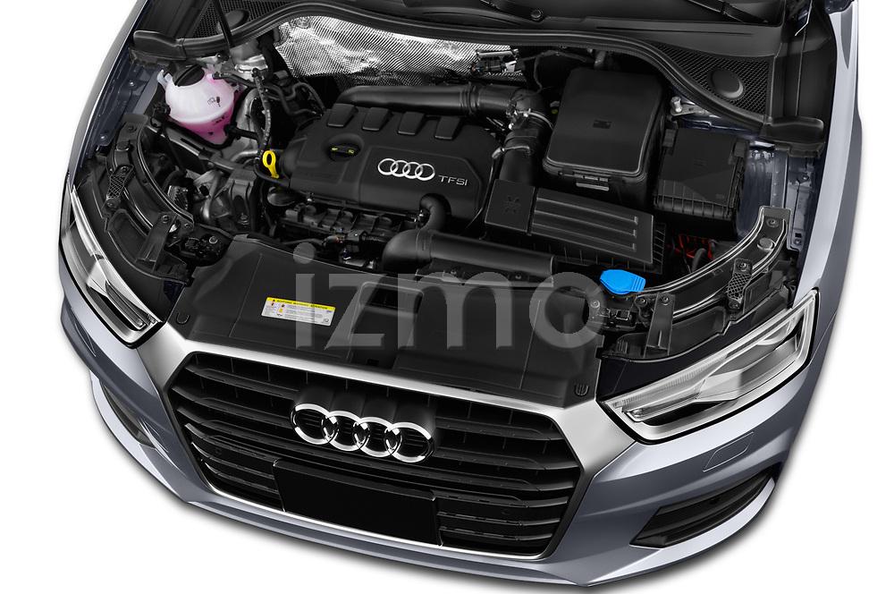 Car stock 2018 Audi Q3  2.0T-FWD-tiptronic-Premium-Plus  5 Door SUV engine high angle detail view