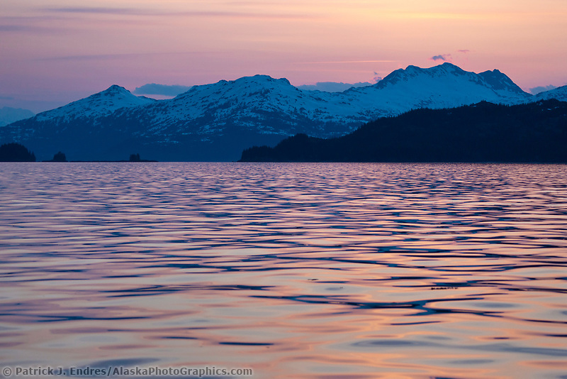 Sunset over the Chugach Mountans, western Prince William Sound, southcentral, Alaska