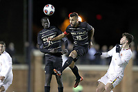 WINSTON-SALEM, NC - NOVEMBER 24: Bruno Lapa #10 of Wake Forest University heads the ball during a game between Maryland and Wake Forest at W. Dennie Spry Stadium on November 24, 2019 in Winston-Salem, North Carolina.