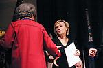 Tina Brown congradulates Marian Wright Edelman for her Justice Award, at the John Jay Justice Award ceremony, April 5 2011.