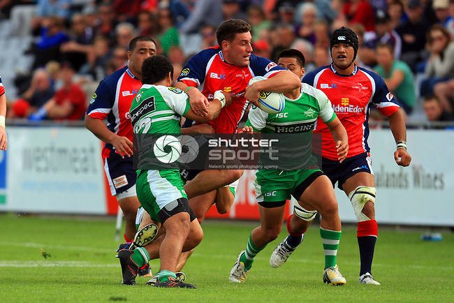 Kieron Fonotia in the Tasman Makos vs Manawatu Turbos  ITM Cup match held at Lansdowne Park, Blenheim 13th October 2013. Final Score 57-14 to Tasman  Photo Gavin Hadfield / Shuttersport