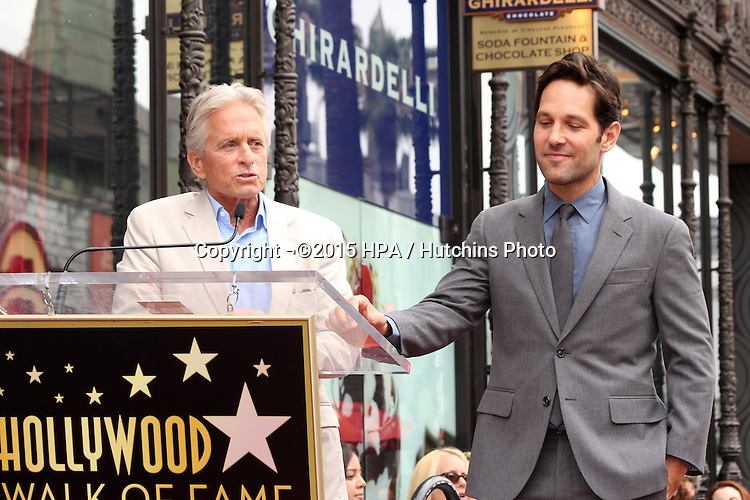 vLOS ANGELES - JUL 1:  Michael Douglas, Paul Rudd at the Paul Rudd Hollywood Walk of Fame Star Ceremony at the El Capitan Theater Sidewalk on July 1, 2015 in Los Angeles, CA