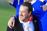 Graeme McDowell celebrates after Team Europe wins the Ryder Cup 16 1/2 to 11 1/2 points after Sunday's Singles Matches of the Ryder Cup 2014 played on the PGA Centenary Course at the Gleneagles Hotel, Auchterarder, Scotland.: Picture Eoin Clarke, www.golffile.ie / www.golftouri,ages.com: 28th September 2014