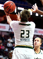 UNCASVILLE, CONNECTICUT -MAR 05: , USF ladies defeated UCF in the semis of the AAC tournament 74-59 as #23 Tamara Henshaw scores on a reverse layup on March 5, 2018 in Uncasville, Connecticut. ( Photo by D. Heary/Eclipse Sportswire/Getty Images)