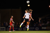 Portland Thorns midfielder Tobin Heath (17) goes up for a header with Western New York Flash midfielder Angela Salem (6). The Portland Thorns defeated the Western New York Flash 2-0 during the National Women's Soccer League (NWSL) finals at Sahlen's Stadium in Rochester, NY, on August 31, 2013.