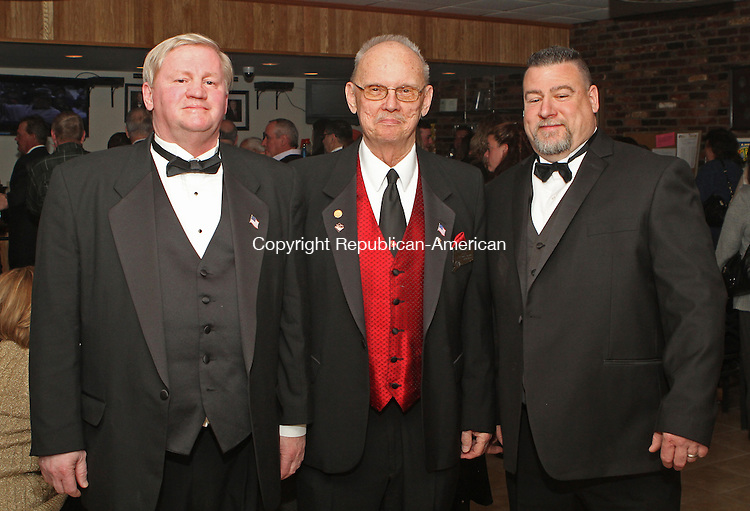 Naugatuck, CT-040613MK01 (From left) Michael McGrath,  Exalted Ruler 2012, Ben Gilbert P.E.R. and Mike Kirk Loyal Knight gathered Saturday evening at the Naugatuck Elks Lodge #967 for the induction of the 2013 Exalted Ruler.  Michael Kabelka / Republican-American