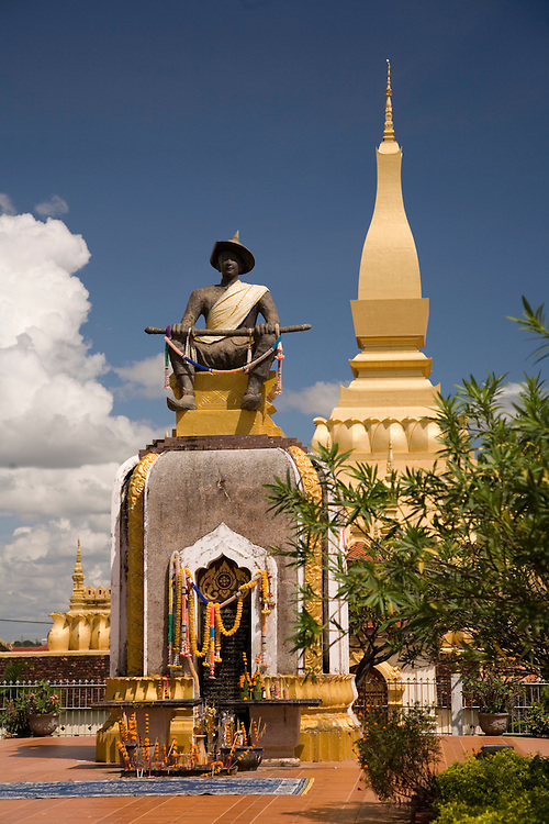 Pha That Luang shelters the residence of the Great Venerable for Lao Buddhism.