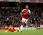 Arsenal's Theo Walcott celebrates scoring his sides opening goal during the Carabao cup match at the Emirates Stadium, London. Picture date 20th September 2017. Picture credit should read: David Klein/Sportimage