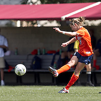 University of Virginia midfielder Morgan Brian (6) passes the ball. Boston College defeated University of Virginia, 2-0, at the Newton Soccer Field, on September 18, 2011.