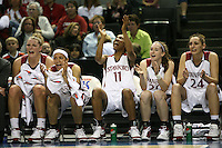 8 March 2008: Stanford Cardinal (L-R) Jayne Appel, Rosalyn Gold-Onwude, Candice Wiggins, Hannah Donaghe, and Ashley Cimino during Stanford's 64-41 win against the Oregon State Beavers in the 2008 State Farm Pac-10 Women's Basketball tournament at HP Pavilion in San Jose, CA.