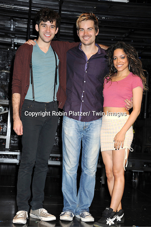 "Adam Chanler-Berat, Matt Shingledecker and Arianda Fernandez attending the photo call for the new production of ""Rent"" ..on August 1, 2011 at The New World Stages in New York City."