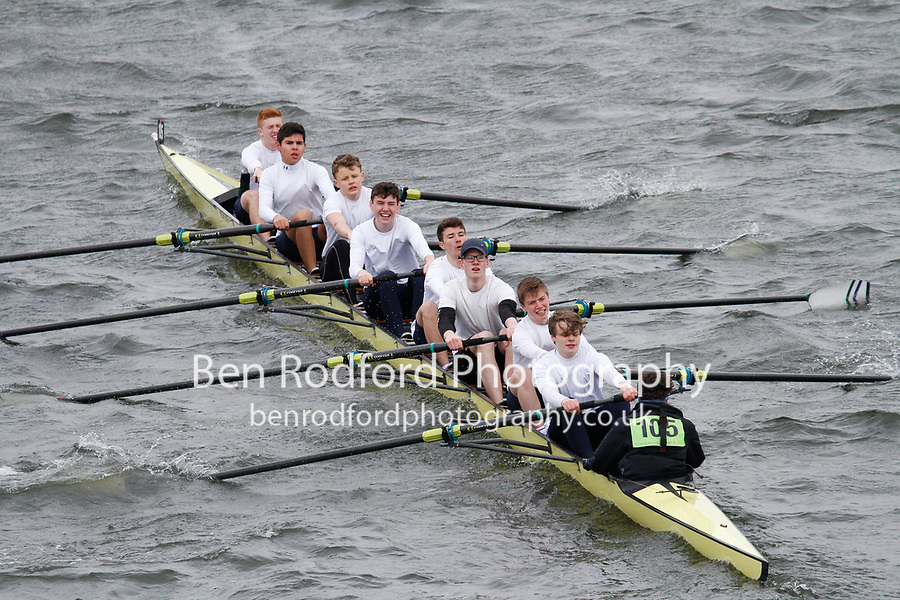 Crew: 105  Kings Sch Chester  Event: School J16 1st eights<br /> <br /> Schools' Head of the River 2017<br /> <br /> To purchase this photo, or to see pricing information for Prints and Downloads, click the blue 'Add to Cart' button at the top-right of the page.
