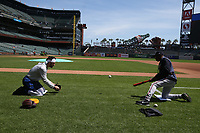 SAN FRANCISCO, CA - MAY 23:  Dansby Swanson #7 of the Atlanta Braves works with coach Ron Washington #37 on the field before the game against the San Francisco Giants at Oracle Park on Thursday, May 23, 2019 in San Francisco, California. (Photo by Brad Mangin)