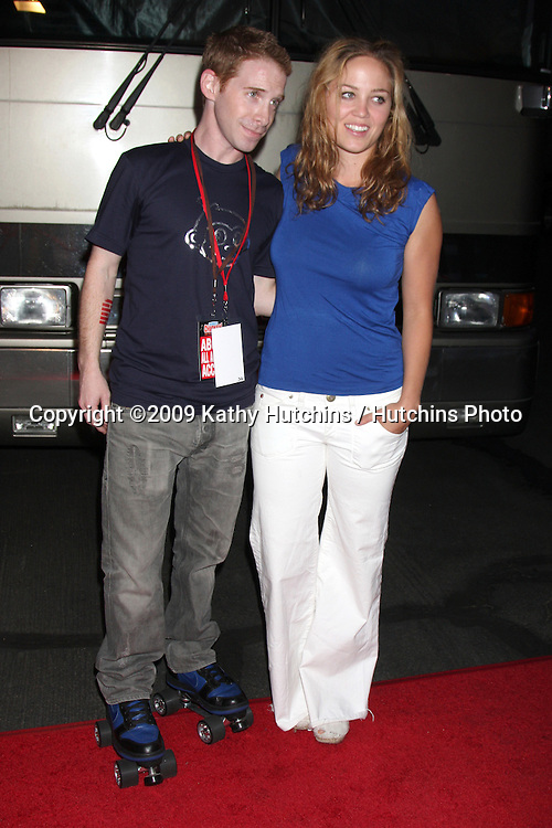 Seth Green & Erika Christensen arriving at the Robot Chicken Skate Party Bus Tour Event  at Skateland, in Northridge,  CA on August 1, 2009 .©2009 Kathy Hutchins / Hutchins Photo..