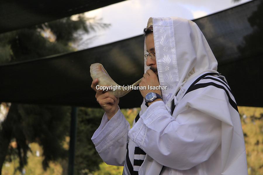 Israel, Tel Aviv, Blowing the Shofar on Rosh Hashanah