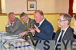 Minister Conor Linehan addresses the crowd at a packed meeting in Cromane Community hall on Tuesday l-r: John O'Donoghue TD, Aidan Barry CEO South West Fishery's, Minister Conor Linehan, Frank Sheridan Department of Fishery's and Dr Patrick Buck assistant CEO SW Fishery's