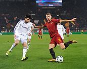 5th December 2017, Stadio Olimpic, Rome, Italy; UEFA Champions league football, AS Roma versus Qarabağ FK; Edin Dzeko gets his shot on goal