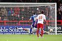 Steve Arnold of Stevenage saves a penalty from Tommy Miller of Swindon. Stevenage v Swindon Town - npower League 1 -  Lamex Stadium, Stevenage - 27th October, 2012. © Kevin Coleman 2012.