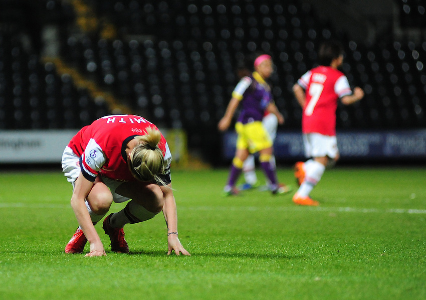 Arsenal Ladies' Kelly Smith looks dejected after missing a good chance to score in the second half<br /> <br /> Photo by Chris Vaughan/CameraSport<br /> <br /> Women's Football - FA Women&rsquo;s Super League 1 - Notts County Ladies v Arsenal Ladies - Wednesday 16th April 2014 - Meadow Lane - Nottingham<br /> <br /> &copy; CameraSport - 43 Linden Ave. Countesthorpe. Leicester. England. LE8 5PG - Tel: +44 (0) 116 277 4147 - admin@camerasport.com - www.camerasport.com