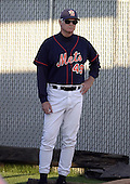 September 2, 2004:  Pitching Coach Jerry Reuss of the Binghamton Mets, Eastern League (AA) affiliate of the New York Mets, during a game at NYSEG Stadium in Binghamton, NY.  Photo by:  Mike Janes/Four Seam Images