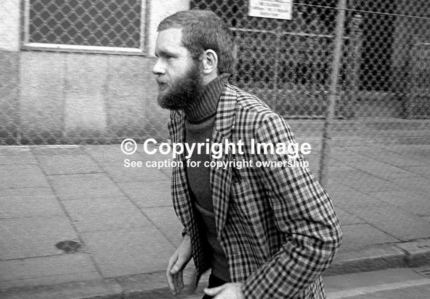 Derry republican Martin McGuinness leaves a Belfast Court this morning, 2nd March 1976, a free man after a charge alleging IRA membership was dropped due to lack of evidence. 197603020125b.<br /> <br /> Copyright Image from Victor Patterson, 54 Dorchester Park, <br /> Belfast, UK, BT9 6RJ<br /> <br /> t1: +44 28 9066 1296 (from Rep of Ireland 048 9066 1296)<br /> t2: +44 28 9002 2446 (from Rep of Ireland 048 9002 2446)<br /> m: +44 7802 353836<br /> <br /> e: victorpatterson@me.com<br /> www.victorpatterson.com<br /> <br /> Please see my Terms and Conditions of Use at www.victorpatterson.com. It is IMPORTANT that you familiarise yourself with them.<br /> <br /> Images used on the Internet must be visibly watermarked i.e. &copy; Victor Patterson<br /> within the body of the image and copyright metadata must not be deleted. Images <br /> used on the Internet have a size restriction of 4kbs and will be chargeable at current<br />  NUJ rates unless agreed otherwise.<br /> <br /> This image is only available for the use of the download recipient i.e. television station, newspaper, magazine, book publisher, etc, and must not be passed on to any third <br /> party. It is also downloaded on condition that each and every usage is notified within 7 days to victorpatterson@me.com<br /> <br /> The right of Victor Patterson to be identified as the author is asserted in accordance with The Copyright Designs And Patents Act (1988). All moral rights are asserted