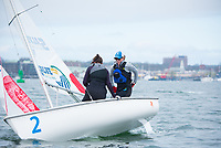 Crew Emma Sexton,'20, and Skipper Jen Killian,'19, tack as the Salve Regina Sailing Team practices in Newport Habor.