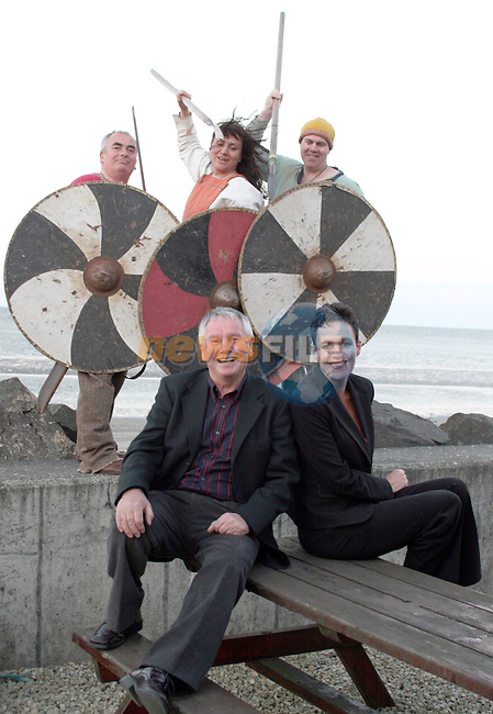 Vikings, Mick Crothers, Alison McGrenaghan and Phillip Campbell with Viking Festival committee chairman, Hugh McMahon and committee member Maureen Ward at the Launch of the Viking Festivsal in Annagassan....Photo NEWSFILE/Jenny Matthews.(Photo credit should read Jenny Matthews/NEWSFILE)....This Picture has been sent you under the condtions enclosed by:.Newsfile Ltd..The Studio,.Millmount Abbey,.Drogheda,.Co Meath..Ireland..Tel: +353(0)41-9871240.Fax: +353(0)41-9871260.GSM: +353(0)86-2500958.email: pictures@newsfile.ie.www.newsfile.ie.FTP: 193.120.102.198.