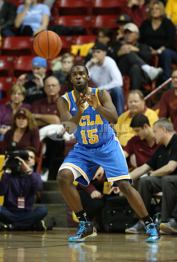 Jan. 26, 2013; Tempe, AZ, USA: UCLA Bruins forward Shabazz Muhammad (15) against the Arizona State Sun Devils at the Wells Fargo Arena. Arizona State defeated UCLA 78-60. Mandatory Credit: Mark J. Rebilas-USA TODAY Sports