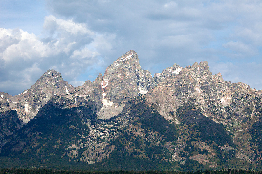 The Grand Tetons mountain range in summer, Grand Teton National Park, Wyoming, USA