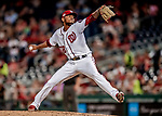 26 September 2018: Washington Nationals pitcher Jefry Rodriguez on the mound in the 7th inning against the Miami Marlins at Nationals Park in Washington, DC. The Nationals defeated the visiting Marlins 9-3, closing out Washington's 2018 home season. Mandatory Credit: Ed Wolfstein Photo *** RAW (NEF) Image File Available ***