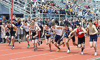 A group of boys start the 4 x 800 relay during the Central Bucks West Relays at Central Bucks West High School Saturday April 23, 2016 in Doylestown, Pennsylvania. (Photo by William Thomas Cain)