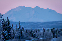 Denali seen from just south of Fairbanks Alaska, beneath severe temperature inversion layers.