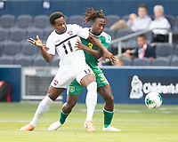 KANSAS CITY, KS - JUNE 26: Daniel Kadell #3 defends against Levi Garcia #11 during a game between Guyana and Trinidad