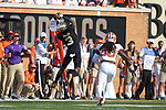 Wake Forest Demon Deacons wide receiver Greg Dortch (3) makes a catch along the Clemson Tigers sideline during first half action at BB&T Field on October 6, 2018 in Winston-Salem, North Carolina. (Brian Westerholt/Sports On Film)