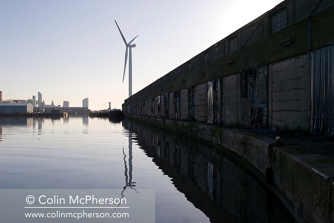 One of the four newly-constructed 2.5 megawatt wind turbines at Alexandra Dock in Liverpool.  The 45 metre, 11 tonne blades were lifted onto the 80 metre towers using two cranes and were assembled by a team from Germany after arriving in sections from the manufacturers in Rostock. The month-long operation was undertaken by the docks' owners, Peel Holdings, and was a £15m investment which will generate power for the docks and around 5500 nearby homes.