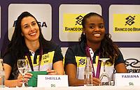 Sheila (e) e Fabianna jogadoras da seleção brasileira feminina de vôlei, durante entrevista coletiva nesta SEGUNDA-FEIRA (13)  no Hotel Marriot Guarulhos.FOTO ALE VIANNA/BRAZIL PHOTO PRESS