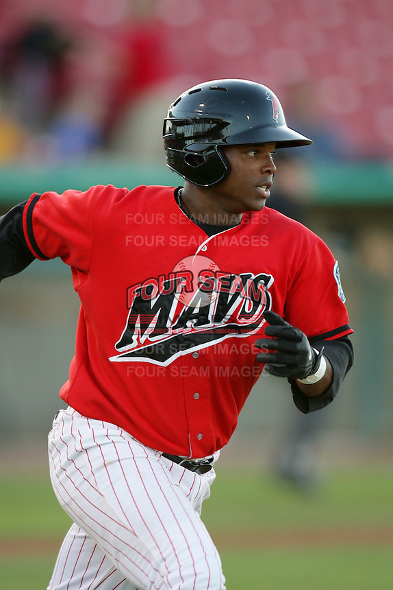 Hassiel Jimenez of the High Desert Mavericks during game against the San Jose Giants at Mavericks Stadium in Adelanto,California on June 16, 2010. Photo by Larry Goren/Four Seam Images