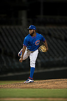 AZL Cubs 2 relief pitcher Andry Rondon (99) follows through on his delivery during an Arizona League game against the AZL Rangers at Sloan Park on July 7, 2018 in Mesa, Arizona. AZL Rangers defeated AZL Cubs 2 11-2. (Zachary Lucy/Four Seam Images)