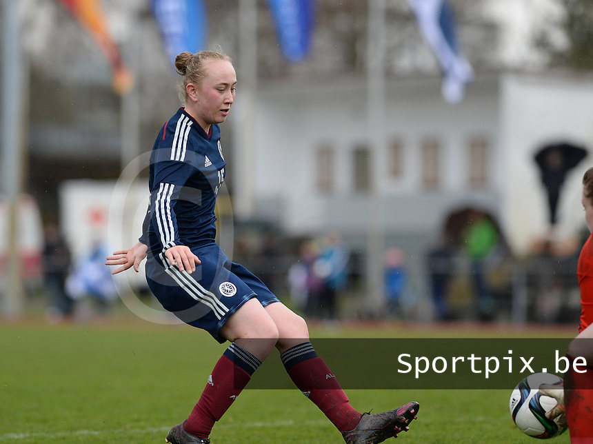 20150404 - FORST , GERMANY  : Scottish Georgie Rafferty pictured during the soccer match between Women Under 19 teams of Germany and Scotland , on the first matchday in group 5 of the UEFA Elite Round Women Under 19 at WaldseeStadion , Forst , Germany . Saturday 4th April 2015 . PHOTO DAVID CATRY